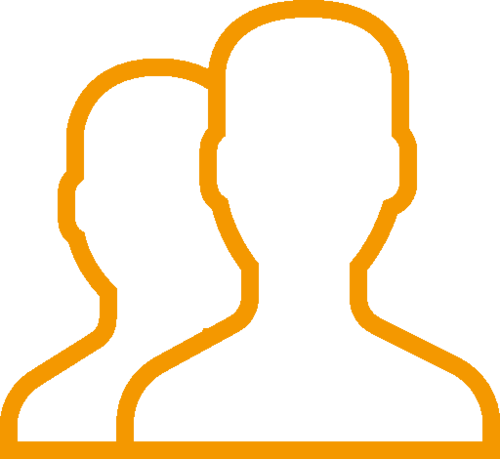 Orange icon of two people